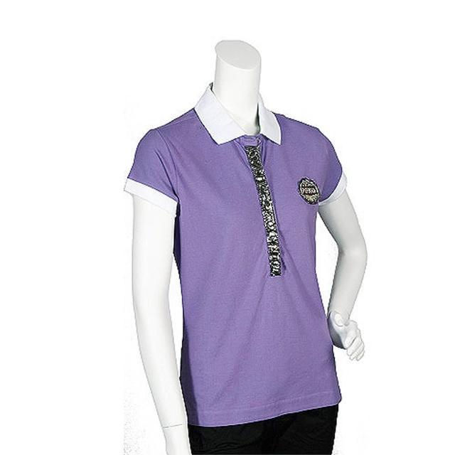 【PINKO】亮片水鑽混搭裝飾短袖POLO衫(丁香紫11D05G foschina viol)