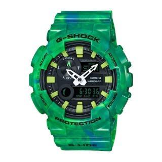 【CASIO 卡西歐 G-SHOCK 系列】潮汐衝浪西瓜綠大理石紋路 個性雙顯男錶(GAX-100MB)   CASIO 卡西歐