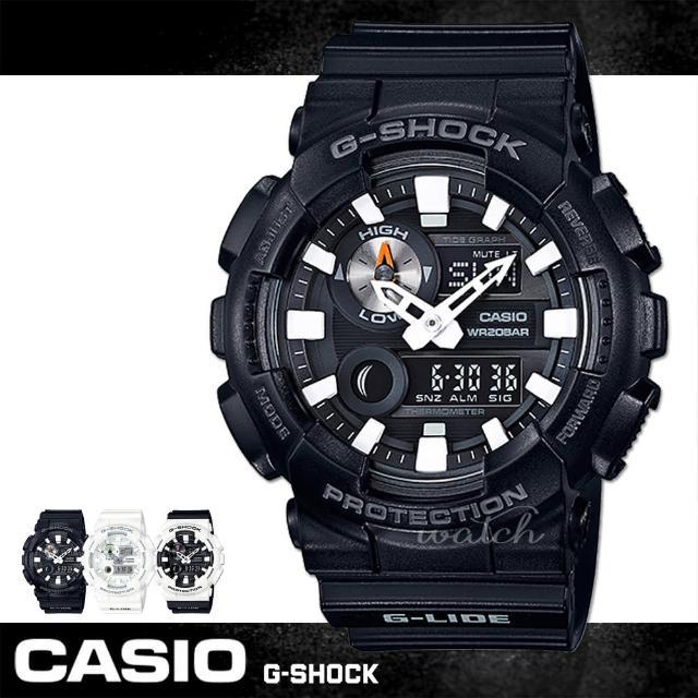 【CASIO 卡西歐 G-SHOCK 系列】新品上市 全黑時尚 運動雙顯男錶(GAX-100B)