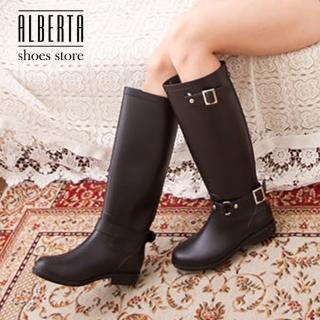 【Alberta】愛上下雨天 VIVI雜誌款耐磨防滑底簡約扣環後拉鏈好穿脫長筒雨鞋(黑色)