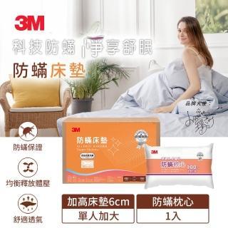 【3M】中密度加高型防蹣床墊 3.5X6.2單人+防蹣枕心1入(超值組合)