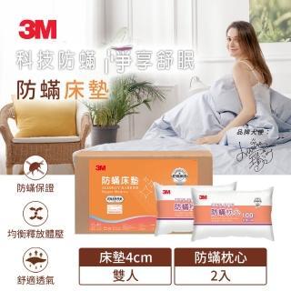 【3M】低密度防蹣床墊 標準型雙人+防蹣枕心2入(超值組合)