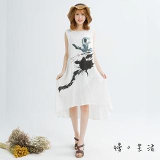【*KatieQ 慢。生活】水墨畫背心棉麻連身裙-F(白/灰/粉)