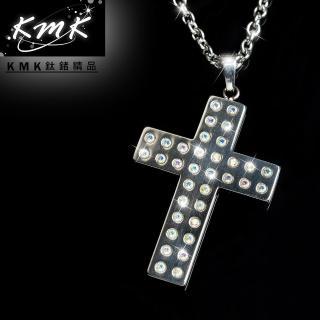 【KMK鈦鍺精品】聖十字(純鈦+小晶鑽+磁鍺健康墜鍊)