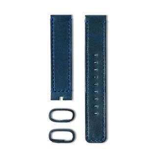【22】植揉皮革車線錶帶-藏藍色/20mm(22-LS01400)