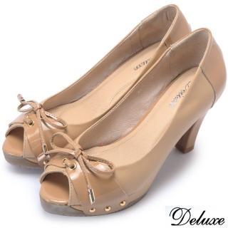 【Deluxe】全真皮雙色拼接優雅蝴蝶粗跟魚口鞋(米)