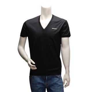 【DSQUARED2】經典品牌LOGO純棉短袖V領T恤(黑-L號-S74GC0907-S21520-900)