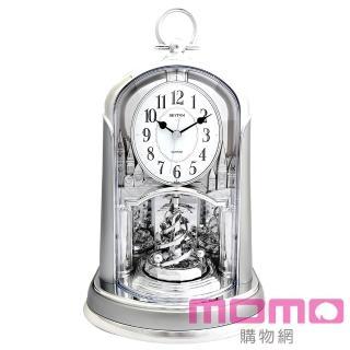 【RHYTHM日本麗聲】優雅宮廷旋轉擺錘裝飾靜音座鐘(極地亮銀)