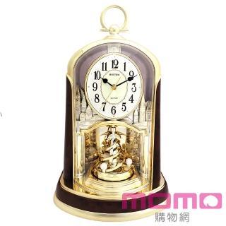 【RHYTHM日本麗聲】優雅宮廷旋轉擺錘裝飾靜音座鐘(尊爵木紋金)