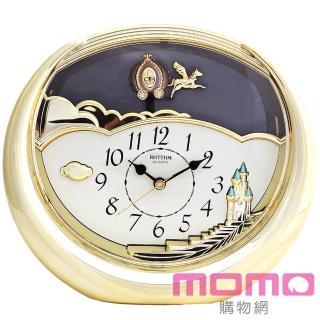 【RHYTHM日本麗聲】仙杜瑞拉童話馬車裝飾座鐘(奢華素金)