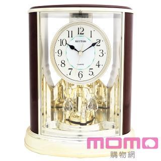 【RHYTHM日本麗聲】典雅水晶旋轉擺錘裝飾藝術座鐘(奢華木紋金)