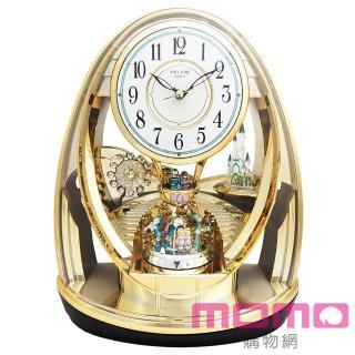 【RHYTHM日本麗聲】童話城堡夢幻雙擺錘裝飾藝術座鐘(金色)