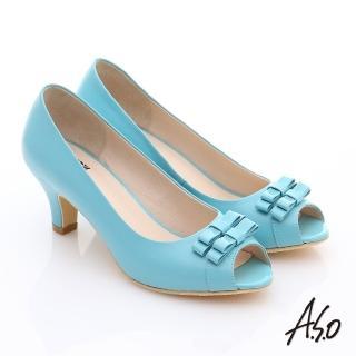 【A.S.O】氣質名媛 全真皮蝴蝶魚口高跟鞋(淺藍)