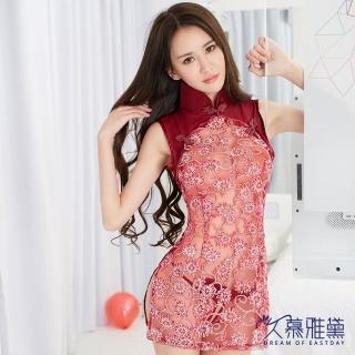 【久慕雅黛】古典誘惑開叉透視旗袍角色扮演服(紅色)