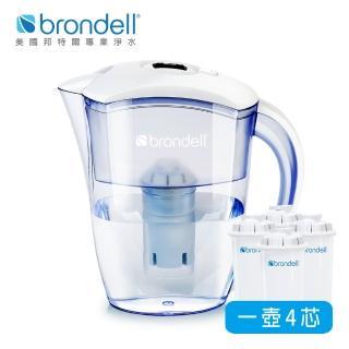 【美國Brondell】H2O+ 長效濾水壺+長效濾芯4入(2色可選)