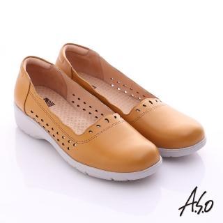 【A.S.O】3E健康鞋 真皮水滴雕花寬楦奈米休閒鞋(茶)