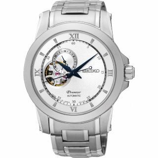 【SEIKO】精工 Premier 開芯鏤空視窗機械腕錶-銀/40mm(4R39-00P0S  SSA319J1)