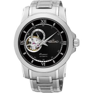 【SEIKO】精工 Premier 開芯鏤空視窗機械腕錶-黑/40mm(4R39-00P0D  SSA321J1)