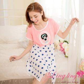 【lingling日系】PA2863全尺碼-點點娃娃貼布不規則擺短袖連身裙睡衣(甜美桔粉)