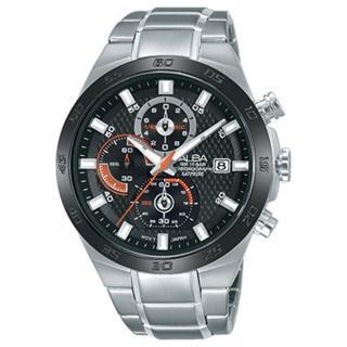 【ALBA雅柏】競速三眼時尚男用不鏽鋼腕錶(44mm/VD57-X080D)