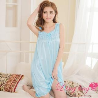 【lingling日系】PA2882全尺碼-蝶結蕾絲冰絲背心連身裙睡衣(純真藍)