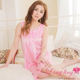 【lingling日系】PA2882全尺碼-蝶結蕾絲冰絲背心連身裙睡衣(誘惑深粉)