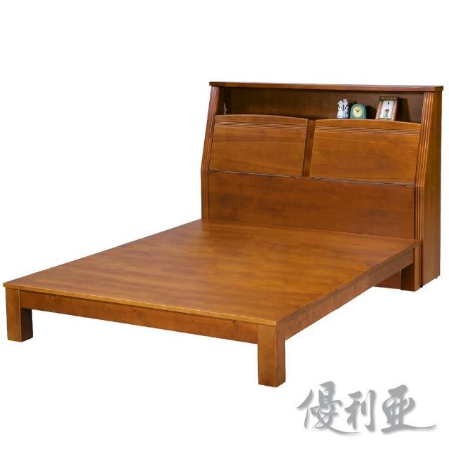 【優利亞-克莉絲淺胡桃色】加大6尺實木床頭箱+床底