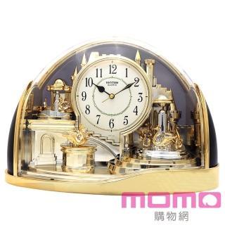 【RHYTHM日本麗聲】宮廷天鵝湖組曲動感擺錘裝飾座鐘(金色)