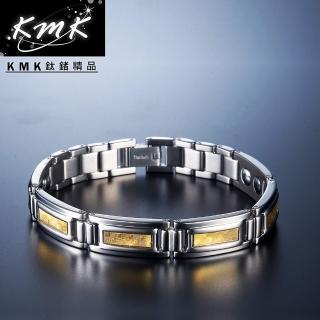 【KMK鈦鍺精品】閃耀金光(金箔純鈦+磁鍺健康手鍊)