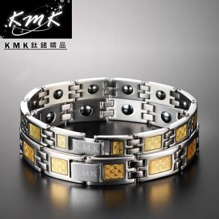 【KMK鈦鍺精品】經典黃金格紋(純鈦+金箔+磁鍺健康手鍊-對款)
