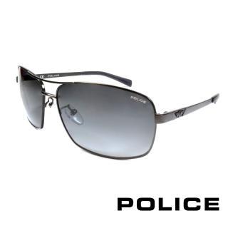 【POLICE】義大利警察都會款個性型男眼鏡-金屬框(灰色 POS8879-0627)