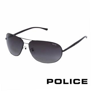 【POLICE】都會復古飛行員太陽眼鏡(消光黑 POS8691-0531)