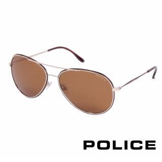 【POLICE】都會偏光飛行員太陽眼鏡(咖啡金 POS8299-F93P)