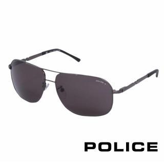 ~POLICE~都會 偏光飛行員太陽眼鏡^(銀黑色 POS8747~584P^)