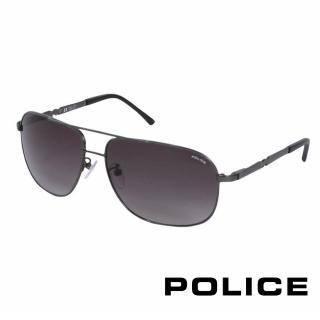 【POLICE】都會時尚飛行員太陽眼鏡(銀黑色 POS8747-0584)