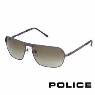 【POLICE】都會時尚飛行員太陽眼鏡(銀黑色 POS8745-0627)