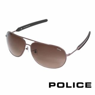 【POLICE】都會時尚飛行員太陽眼鏡(古銅色 POS8736-0K01)