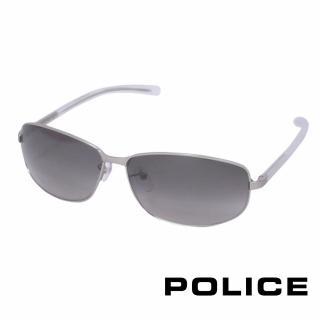 【POLICE】都會時尚太陽眼鏡(銀白色 POS8697-581K)
