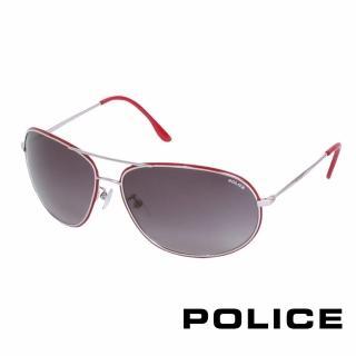 【POLICE】都會時尚太陽眼鏡(銀+紅 POS8637-0N54)