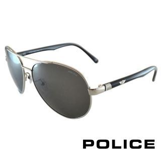 【POLICE】時尚飛行員太陽眼鏡 金屬大框面(黑色 POS8640-0579)