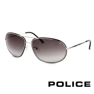 【POLICE】飛行員太陽眼鏡 金屬大框面時尚必備(銀色 POS8637-0K07)