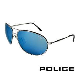 【POLICE】飛行員太陽眼鏡 金屬大框面時尚必備(黑色 POS8637-K07B)