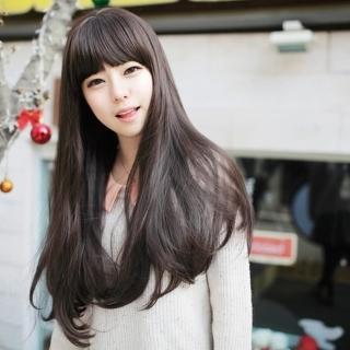 【米蘭精品】女假髮整頂長假髮(長直髮微捲日韓系甜美可愛修臉女美髮用品3色68x1)