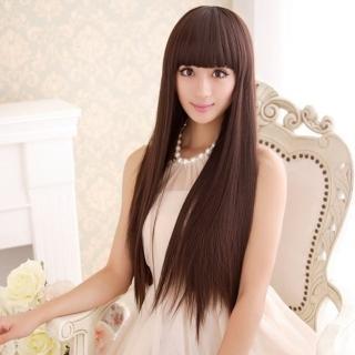 【米蘭精品】女假髮整頂長假髮(長直髮時尚氣質齊瀏海修臉減齡女美髮用品3色68x3)