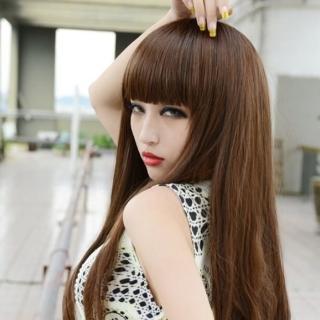 【米蘭精品】女假髮整頂長假髮(甜美修臉齊瀏海時尚自然女美髮用品4色68x33)