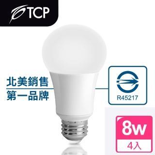 【美國TCP】8W LED 廣角型節能省電燈泡_白光(4入)