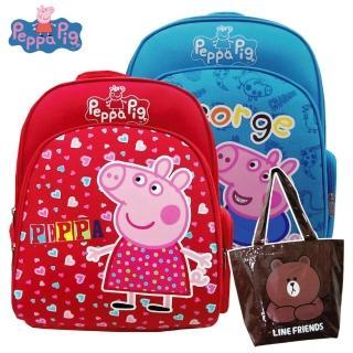 【Peppa Pig 粉紅豬】1+1_EVA護脊後背書包+熊大防水輕質萬用袋(佩佩豬/喬治_PP5715)
