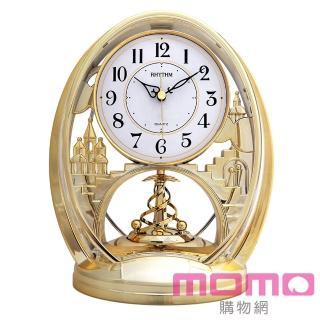 【RHYTHM日本麗聲】歐式旋轉擺錘世界樹童話工藝座鐘(金色)
