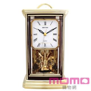 【RHYTHM日本麗聲】古典歐風水晶旋轉擺錘工藝座鐘(金色)