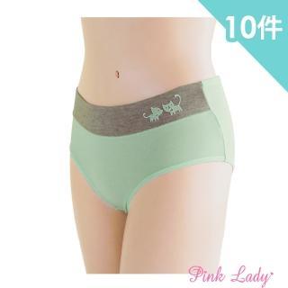 【PINK LADY】戀上貓咪-印花棉質少女內褲908(10件組)